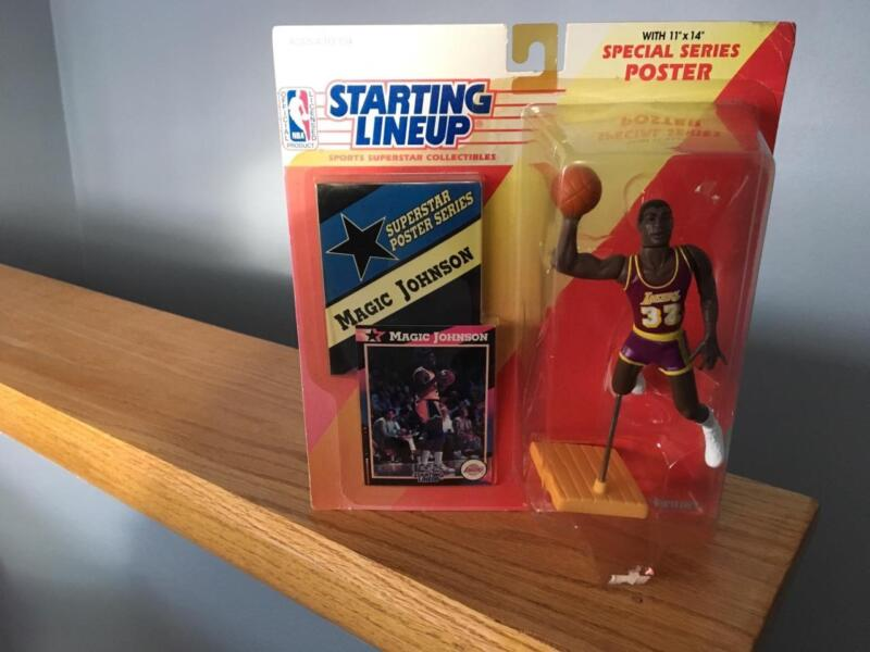 NEW Kenner 1992 Starting Line Up Magic Johnson LA Lakers Poseable Poster Series