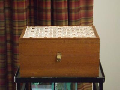Mosaic Tile Teak Mid Century Sewing Box 18 Spools EXC