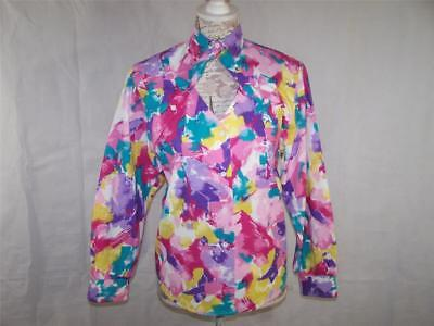 Roper Western Shirt XS Keyhole Cut Out Paint Splatter Button Up Long Sleeves - Western Cut Outs