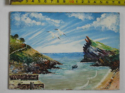 Original Acrylic or Oil painting-seascape-boat-seagulls