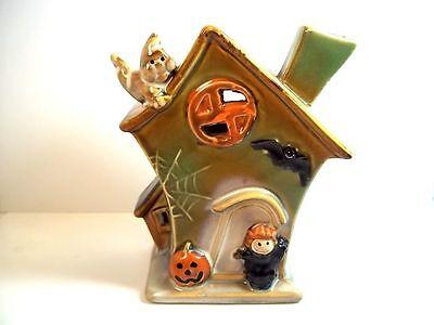 """Glazed pottery Halloween house tea light holder ghost witch bat pumpkins 5"""" tall"""