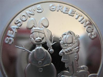 1-OZ.999 SILVER CHRISTMAS GARFIELD & ODIE PAWS COIN SILVERTOWNE GIFT BOX+GOLD