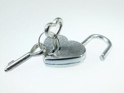 Vintage Antique Style Mini Padlock Key Lock Heart Shaped (Lot of 3) Silver Color