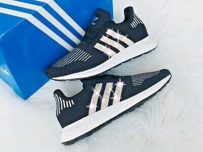 Adidas Sneakers Silber (Crystal Adidas Swift Run J Luxus Sneakers mit Swarovski Elements schwarz silber)