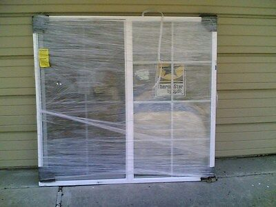 NEW:  Big White VINYL House SLIDER WINDOW with Tempered Glass & Grids 61x57