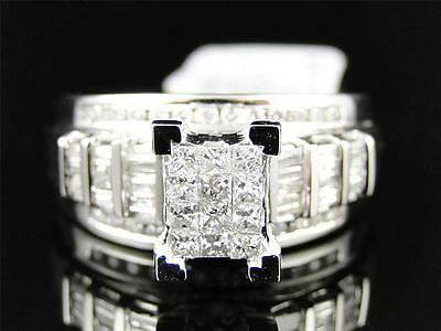 Ladies White Gold Princess Cut Diamond Engagement Wedding Bridal Ring Set 1 Ct