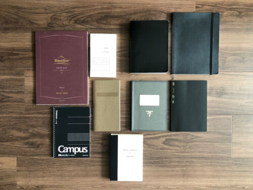 Lot of 9 notebooks (Tomoe, Midori, Kokuyo, Clairefontaine, Moleskine, etc.)