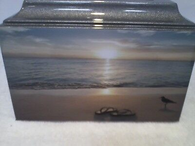 616 Silver Beach Sunrise Funeral Memorial Cremation Urn with Free plate!