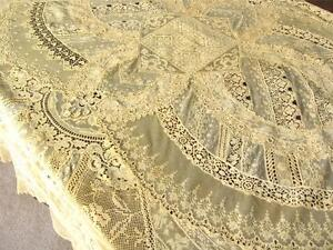 FABULOUS Antique French NORMANDY MIXED LACE Hand Pieced TABLECLOTH COVERLET