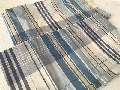 "LAUREN By RALPH LAUREN Set of Two Blue Plaid ""Sundeck"" Cotton Pillow Shams NEW!"