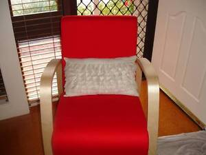 Red and wood arm chairs Eagle Vale Campbelltown Area Preview