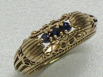 Vintage 14KT Fine Yellow Gold And Sapphire Filigree Ring Size 6.75