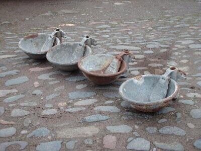 4 VINTAGE RUSTIC GALVANISED WALL WATER TROUGHS / GARDEN PLANTERS