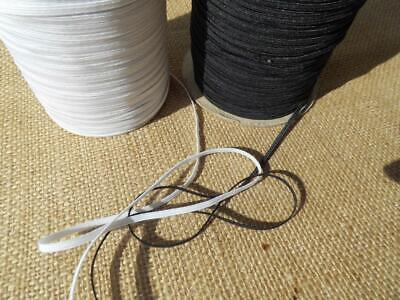 """X 10 Metres 4 CORD 3MM ⅛ """" flat ELASTIC black white face mask SOFT & STRONG"""