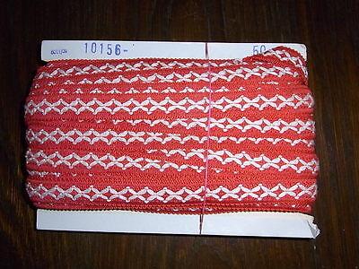 (0,34€/m) rot weiße Borte, Höhe ca. 2cm 50m auf einer Pappe OPEW