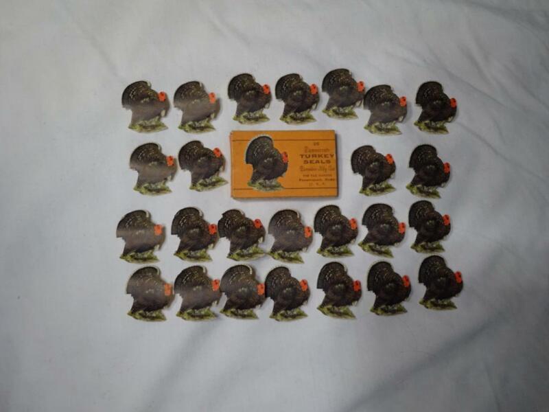 25 THANKSGIVING ANTIQUE DENNISON SEALS STICKERS Full Box VG