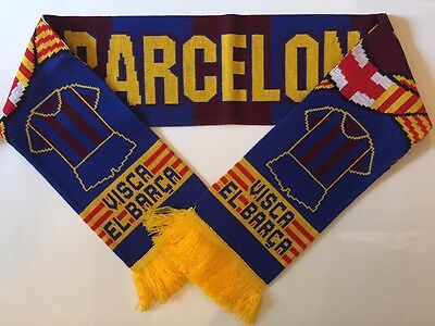 BARCELONA Football Scarf made with soft luxury acrylic yarns NEW