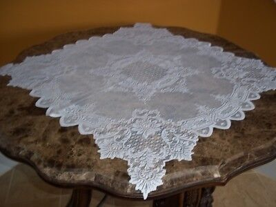 LACE DOILY IVORY FLORAL TABLE TOPPER 30 X 30 HOME DESIGN ACCENT CTDF716
