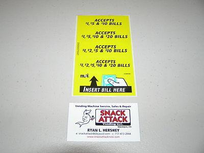 Vm010 Dollar Bill Changer Machine Label Stickers - Accepts 1 5 10 20