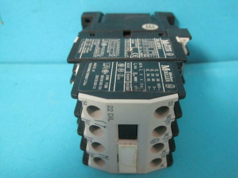 KLOCKNER MOELLER DILL00 M4 CONTACTOR WITH DIL 22 AUXILIARY CONTACT USED TESTED