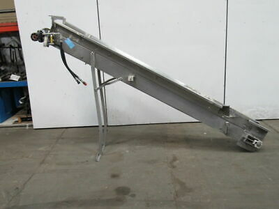 Hydraulic 115 X 8-12 Incline Cleated Stainless Steel Small Parts Conveyor