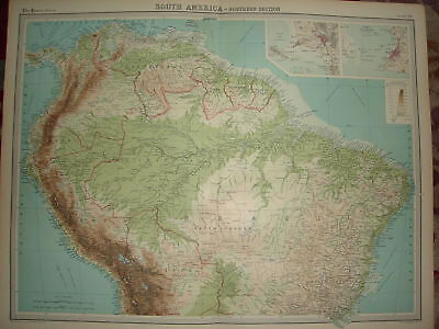 1920 LARGE MAP SOUTH AMERICA NORTHERN SECTION 23
