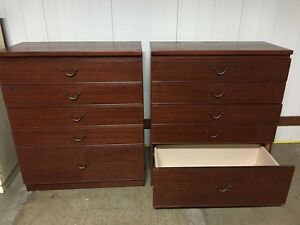 Pair of 5 Drawer Chest of Drawers - Large Unit, Smooth Drawers Artarmon Willoughby Area Preview