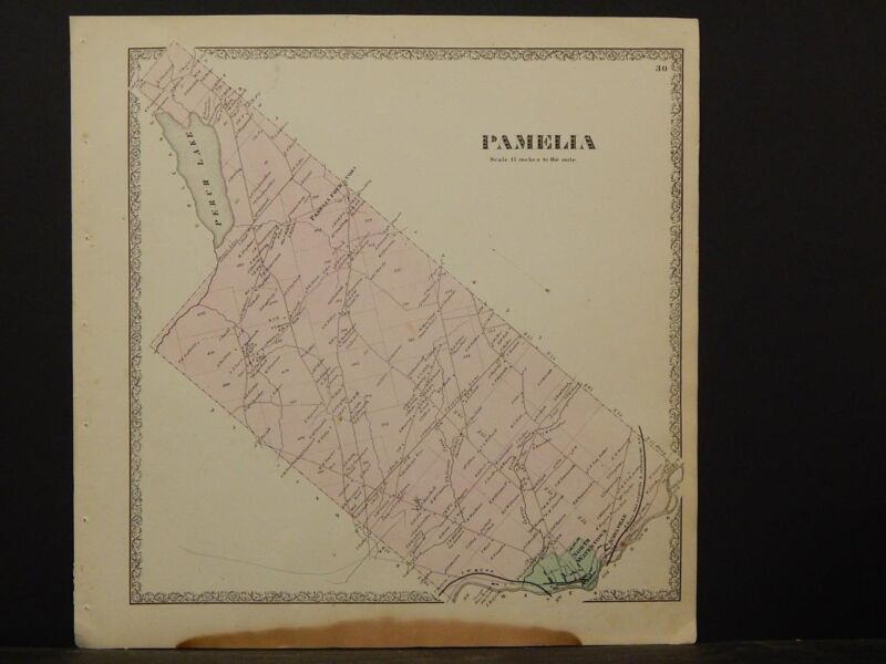 New York, Jefferson County Map, 1864 Town of Pamelia N4#55