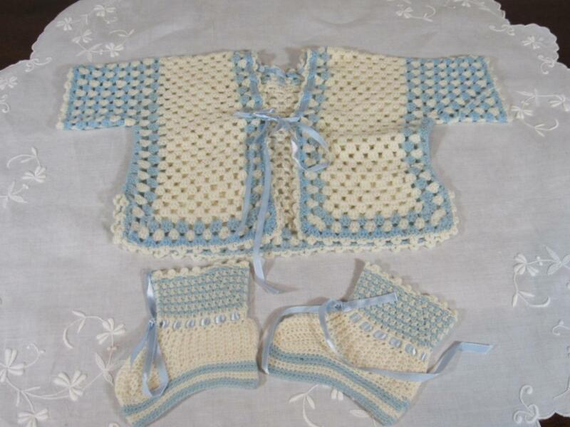 Vintage Crocheted Baby Newborn Doll Kimono Jacket and Booties Blue White