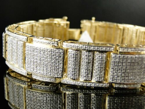 Mens Xl Yellow Gold Pave Diamond Bracelet Bangle 6.0 Ct