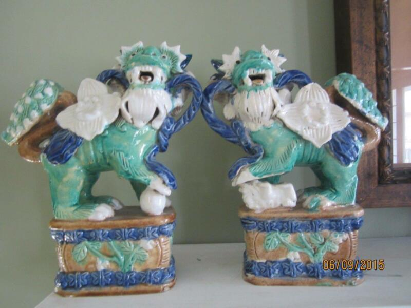 PAIR ANTIQUE GLAZED POTTERY HANDMADE FOO DOGS
