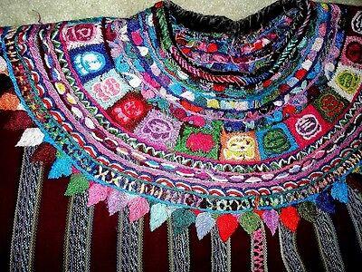 HAND EMROIDERED FLOWERS - BEAUTIFUL PATZUN DARK RED  HUIPIL GUATEMALA-UNUSUAL-