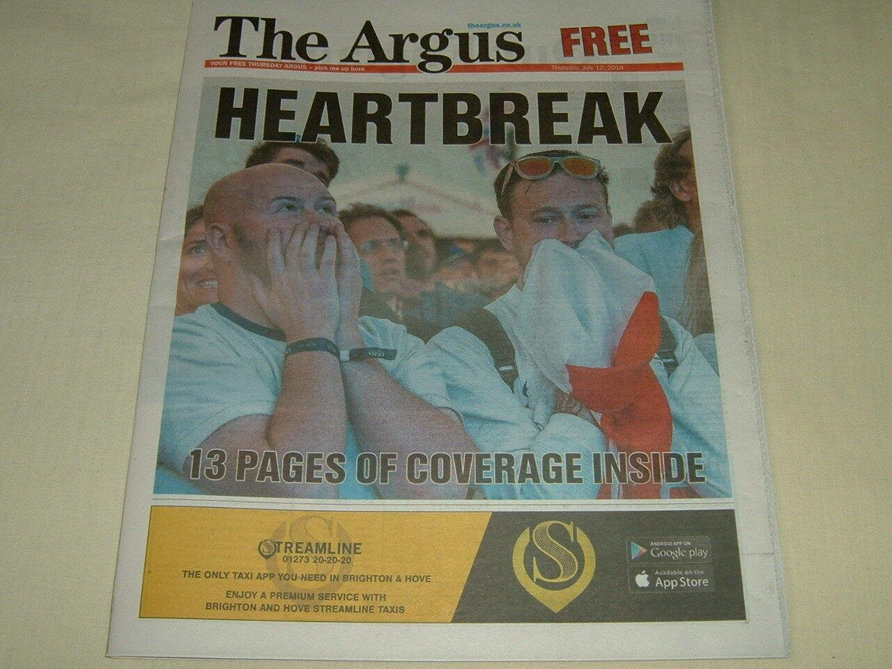 The Argus Newspaper 12 July 2018 FIFA World Cup Russia 2018, England Vs Croatia