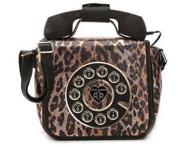 Betsey Johnson Kitsch Call Me Baby Telephone Bag Phone Bronze Cheetah NEW