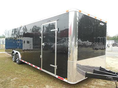 New 2019 8.5 X 28 8.5x28 Black Enclosed Race Cargo Car Hauler Trailer - Loaded