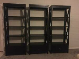 Bookcase set, timber and leather trim