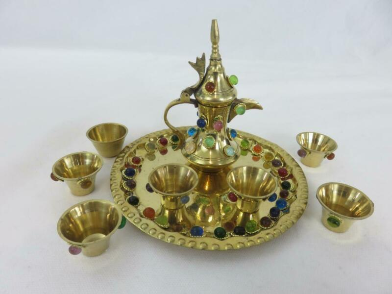 9pc Set Miniature Turkish Islamic Dallah Coffee Pot Cup Tray Jewel Studded Brass