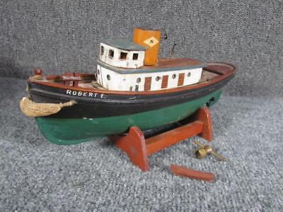 ANTIQUE early 1900s KEY WIND TOY MODEL  of wood TUG BOAT ROBERT E.,WOODCLIFF,NJ