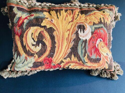 Antique Vintage tapestry pillow floral garden fringe trim
