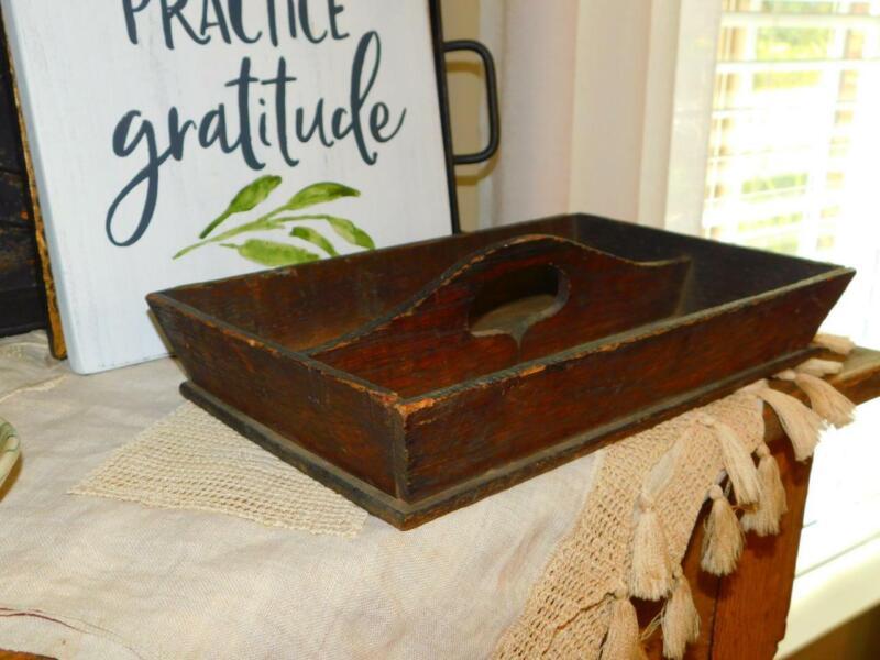 Antique Vintage PRIMITIVE WOODEN FLATWARE TRAY Handled Utencil Box FARMHOUSE
