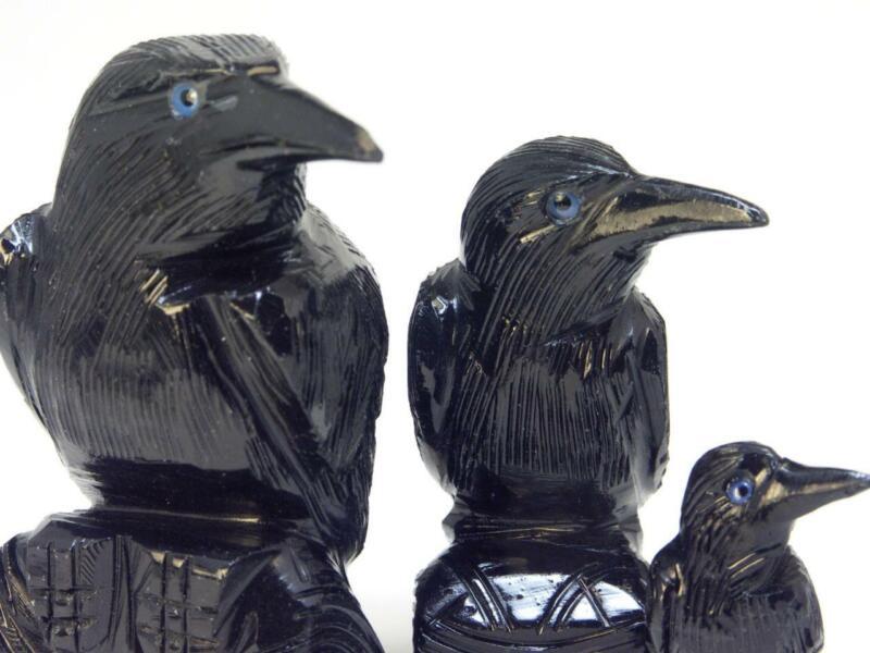 RAVEN Crow FAMILY of 3 Black Onyx Statue Figurine fetish rock carving Totem PERU