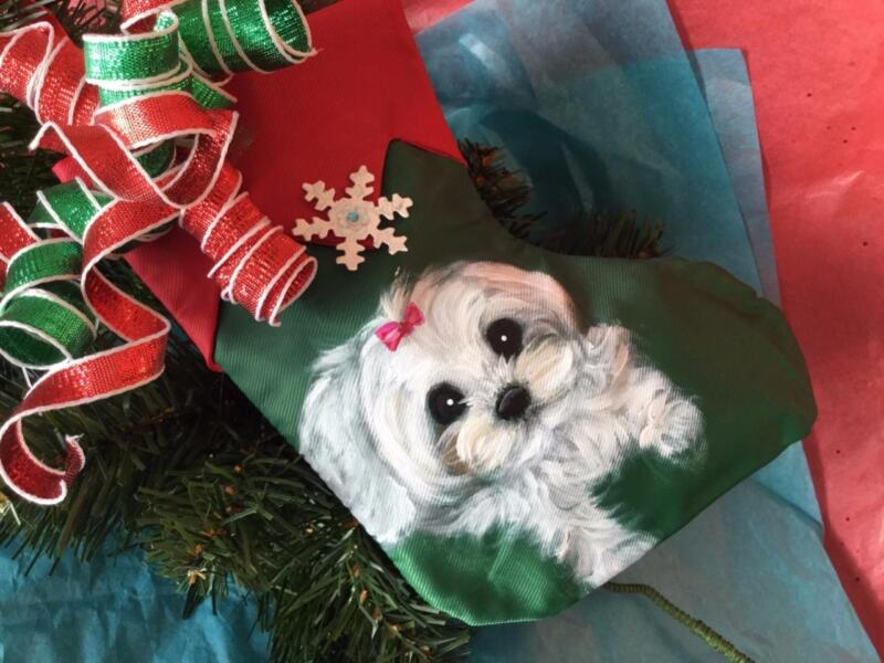 MALTESE HAND PAINTED CHRISTMAS STOCKING ORNAMENT