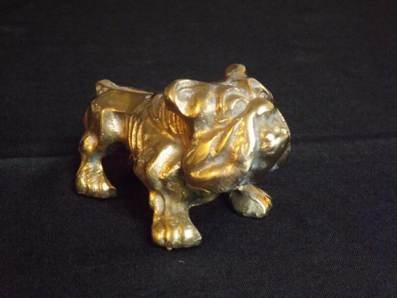 """Brass Bulldog Figurine Paperweight 370 Grams 4"""" Long"""