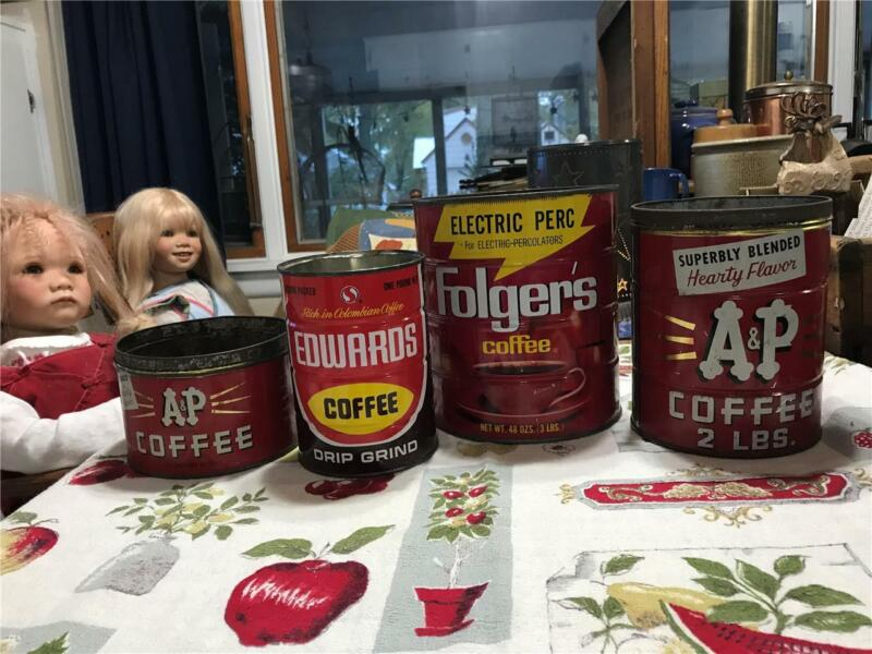 LOT of 4 VTG Coffee Cans Tins 3# FOLGERS - Edwards 1# -  A&P 1# & 2# FREE SHIP