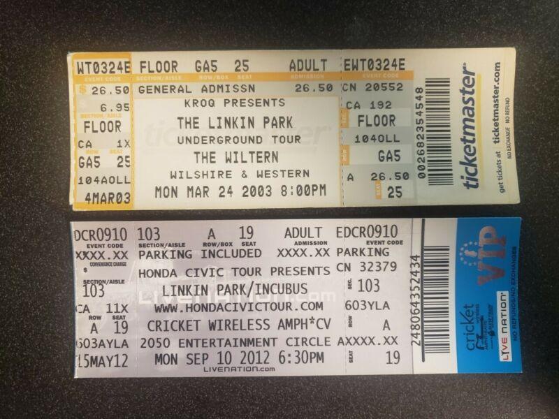 Linkin Park Lot of 2 Concert Tickets 2003-2012