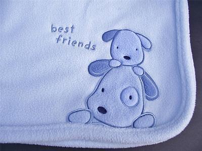 Carter's Just One Year best friends Puppy Dog Baby Blanket Blue Fleece VGC