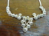 Vintage Silvertone Necklace With Flowers Designed -  - ebay.co.uk