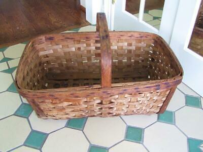 Antique Hand Made Primitive Wood Splint Large Laundry Basket Dog Bed- Well Made