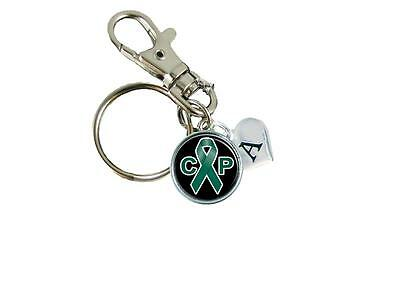 Cerebral Palsy Ribbon (Custom Cerebral Palsy Awareness Green Ribbon Key Chain Initial Family Charm)