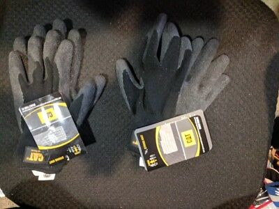 Cat Gloves Cat017400l Large Cotton Latex Coated Palm Gloves Lot Of 2 New